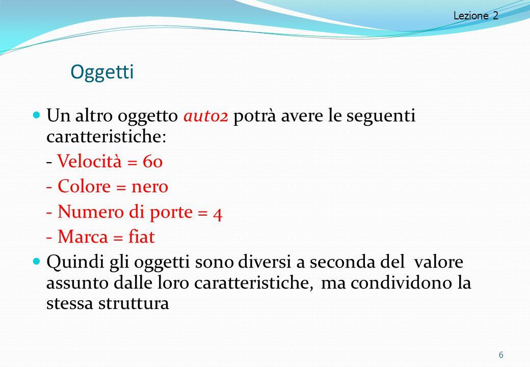 Lezione 2 Oggetti. Un altro oggetto auto2 potrà avere le seguenti caratteristiche: - Velocità = 60.