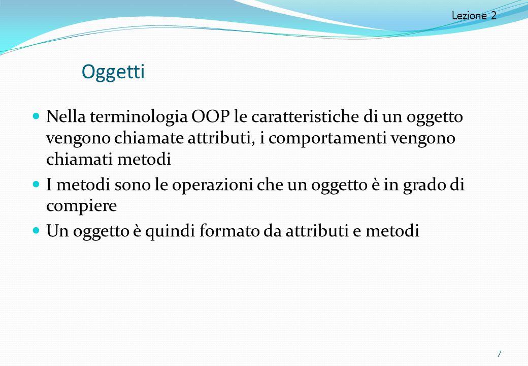 Lezione 2 Oggetti. Nella terminologia OOP le caratteristiche di un oggetto vengono chiamate attributi, i comportamenti vengono chiamati metodi.