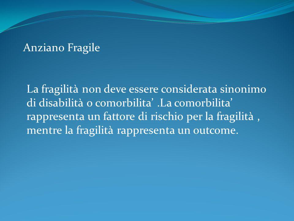 Anziano Fragile La fragilità non deve essere considerata sinonimo di disabilità o comorbilita' .La comorbilita' rappresenta un fattore di rischio per la fragilità , mentre la fragilità rappresenta un outcome.