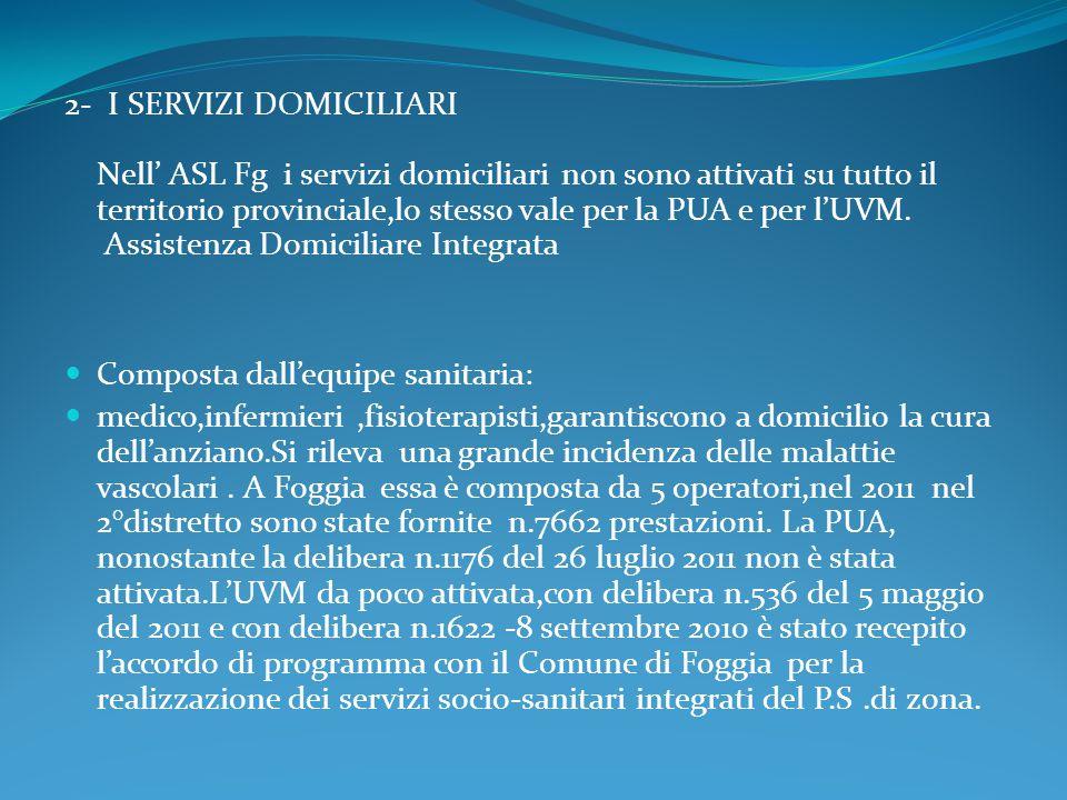 2- I SERVIZI DOMICILIARI Nell' ASL Fg i servizi domiciliari non sono attivati su tutto il territorio provinciale,lo stesso vale per la PUA e per l'UVM. Assistenza Domiciliare Integrata