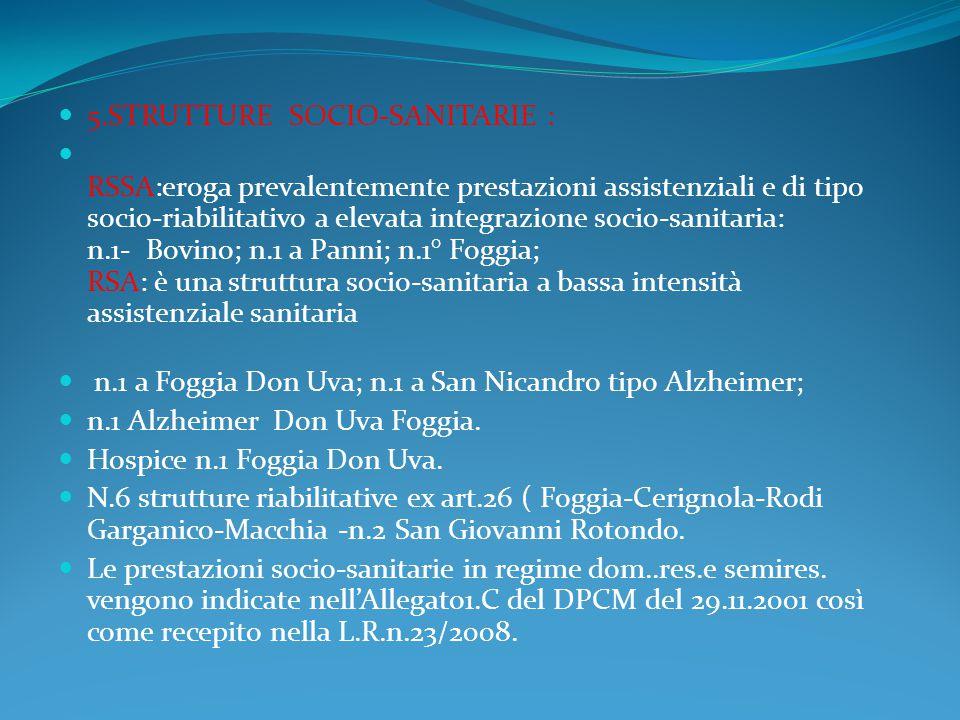 5.STRUTTURE SOCIO-SANITARIE :