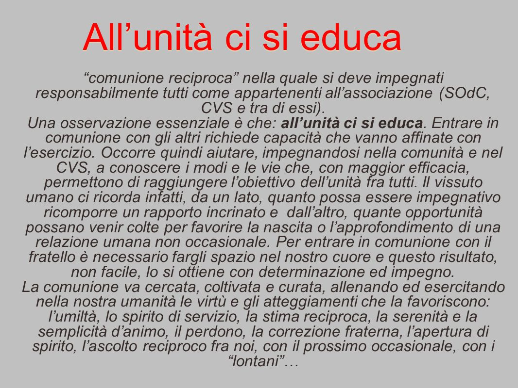 All'unità ci si educa