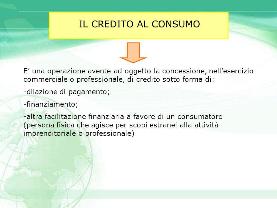 IL CREDITO AL CONSUMO E' una operazione avente ad oggetto la concessione, nell'esercizio commerciale o professionale, di credito sotto forma di: