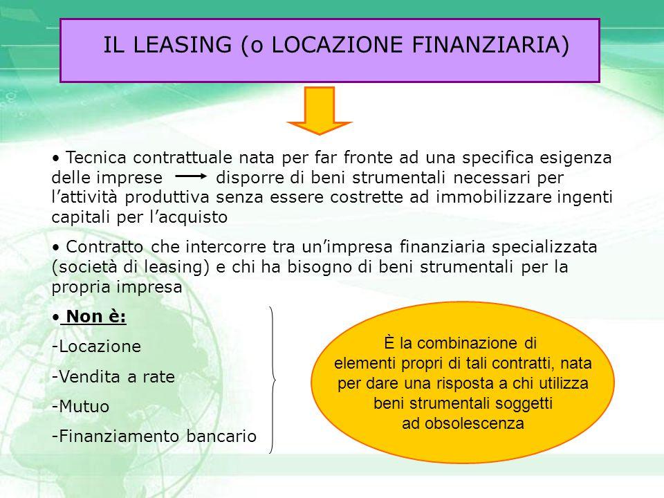 IL LEASING (o LOCAZIONE FINANZIARIA)