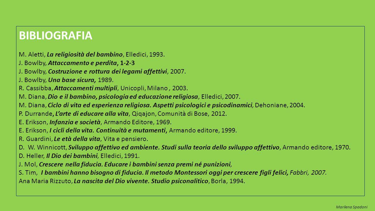 BIBLIOGRAFIA M. Aletti, La religiosità del bambino, Elledici, 1993.