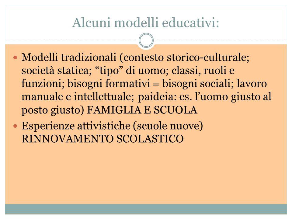 Alcuni modelli educativi: