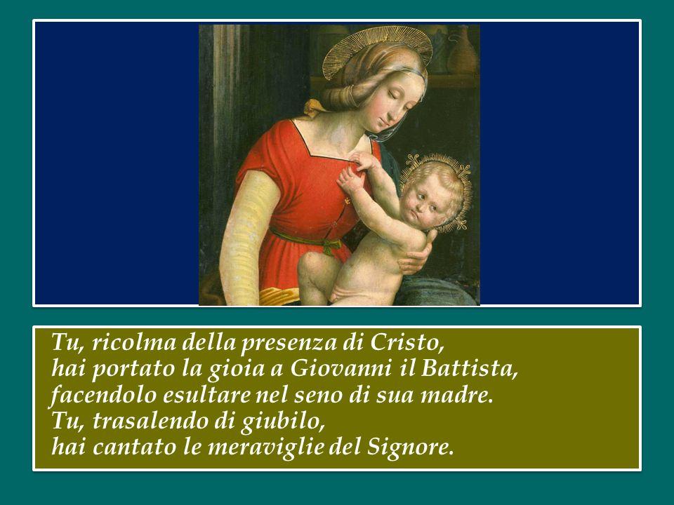 Tu, ricolma della presenza di Cristo, hai portato la gioia a Giovanni il Battista, facendolo esultare nel seno di sua madre.