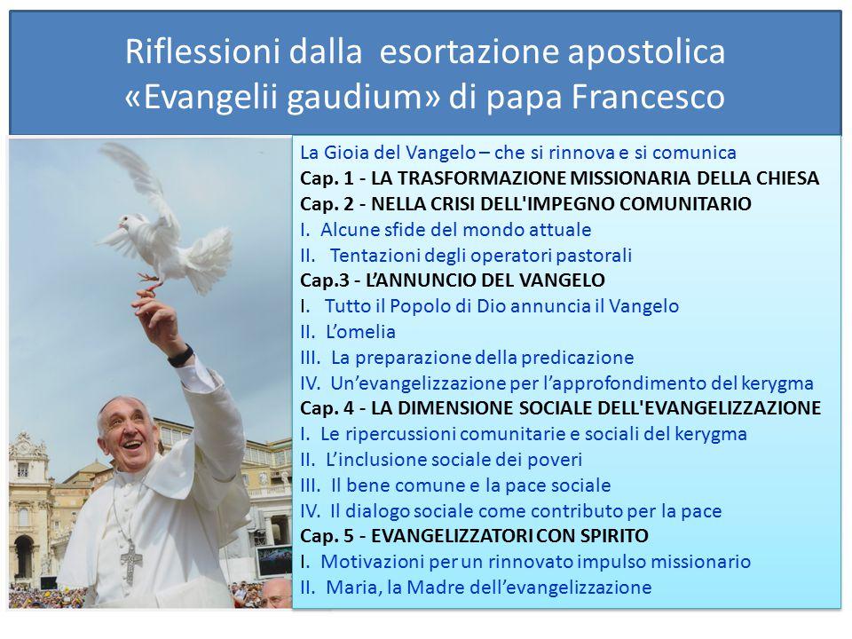 Riflessioni dalla esortazione apostolica «Evangelii gaudium» di papa Francesco