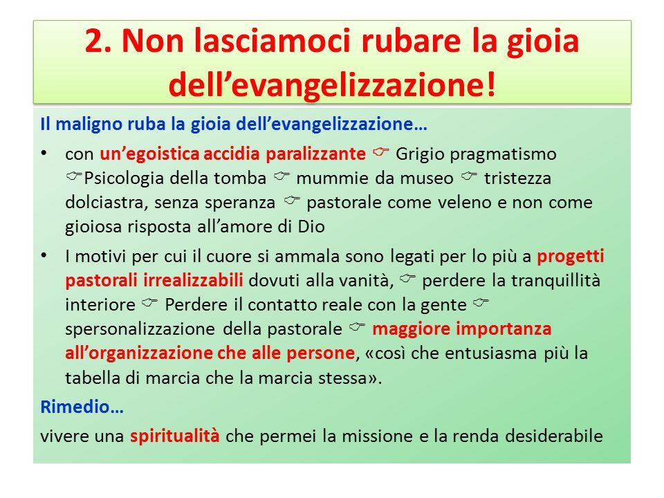 2. Non lasciamoci rubare la gioia dell'evangelizzazione!