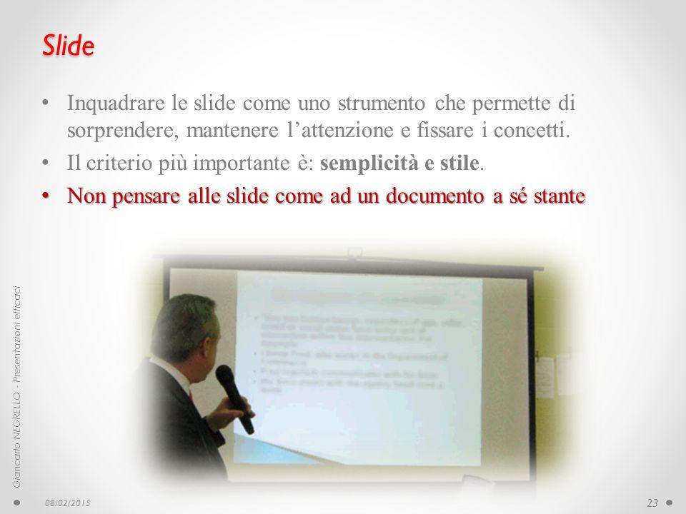 Slide Inquadrare le slide come uno strumento che permette di sorprendere, mantenere l'attenzione e fissare i concetti.