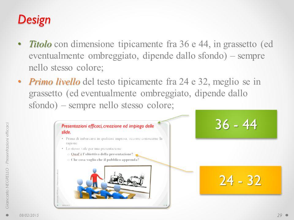 Design Titolo con dimensione tipicamente fra 36 e 44, in grassetto (ed eventualmente ombreggiato, dipende dallo sfondo) – sempre nello stesso colore;