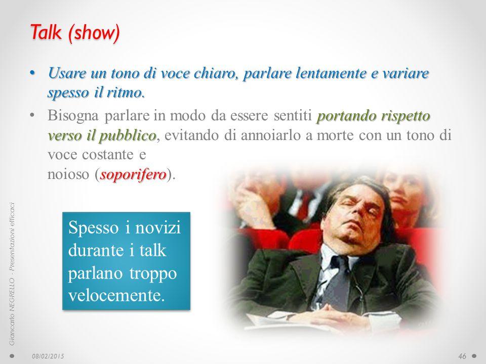 Talk (show) Spesso i novizi durante i talk parlano troppo velocemente.