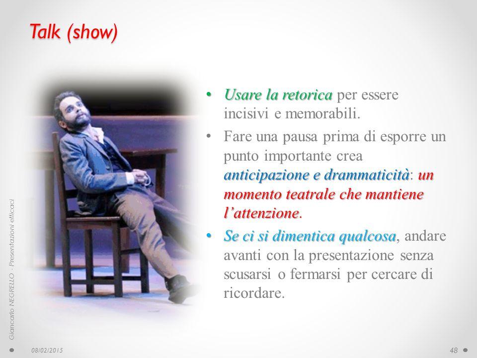 Talk (show) Usare la retorica per essere incisivi e memorabili.