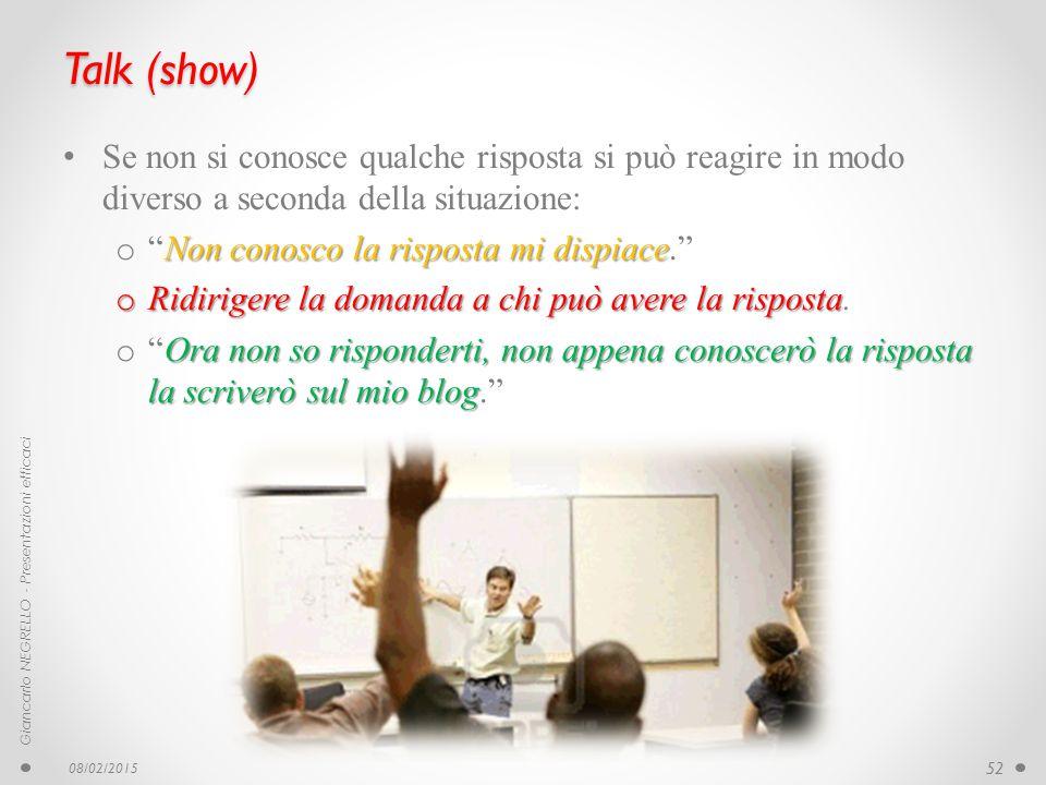 Talk (show) Se non si conosce qualche risposta si può reagire in modo diverso a seconda della situazione: