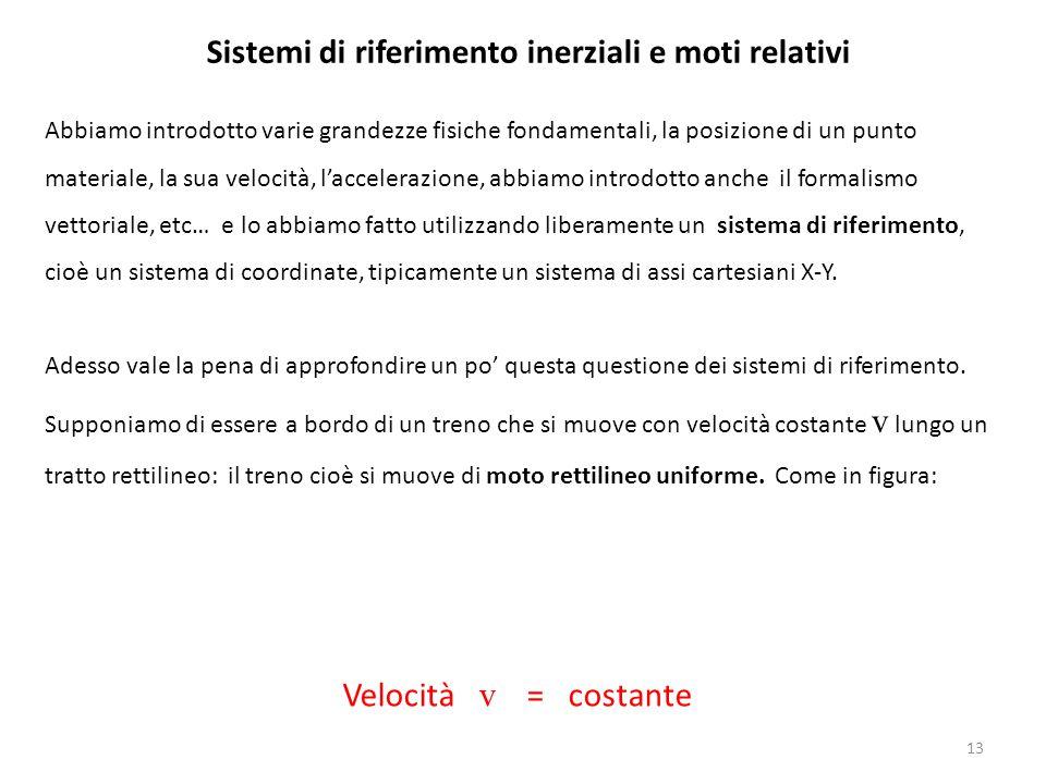 Sistemi di riferimento inerziali e moti relativi