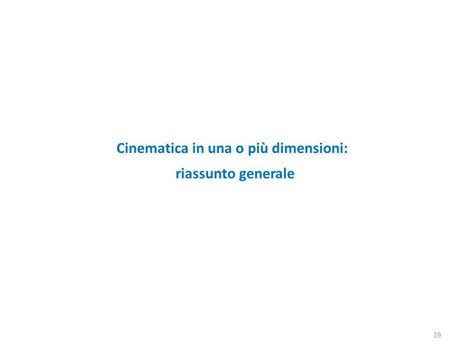 Cinematica in una o più dimensioni: