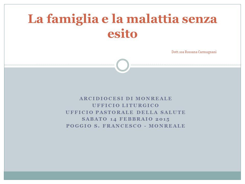 La famiglia e la malattia senza esito Dott.ssa Rossana Carmagnani