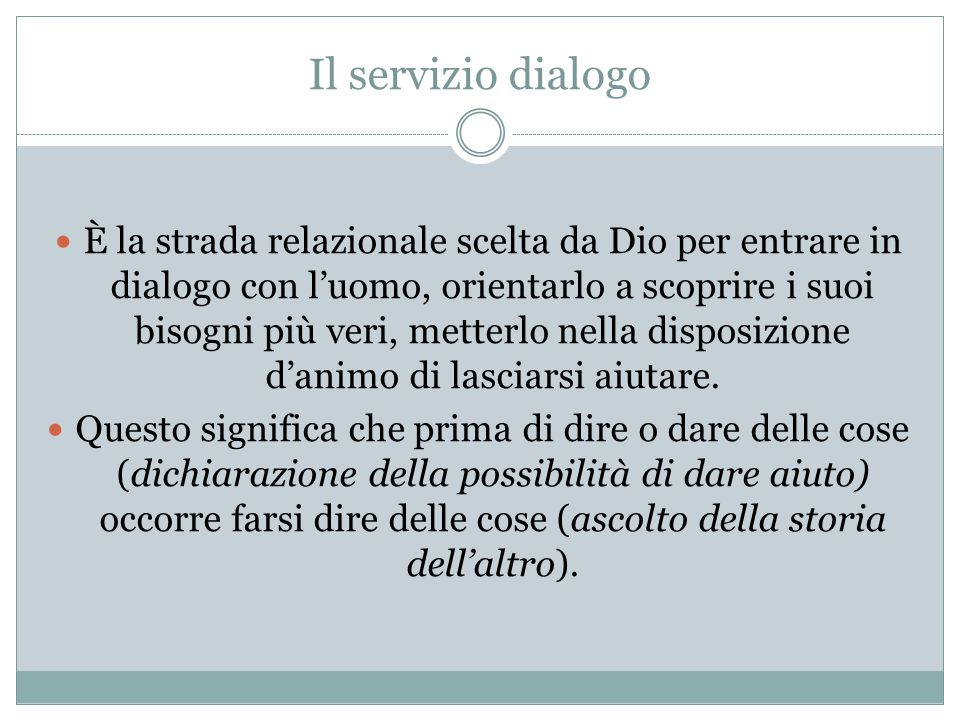 Il servizio dialogo