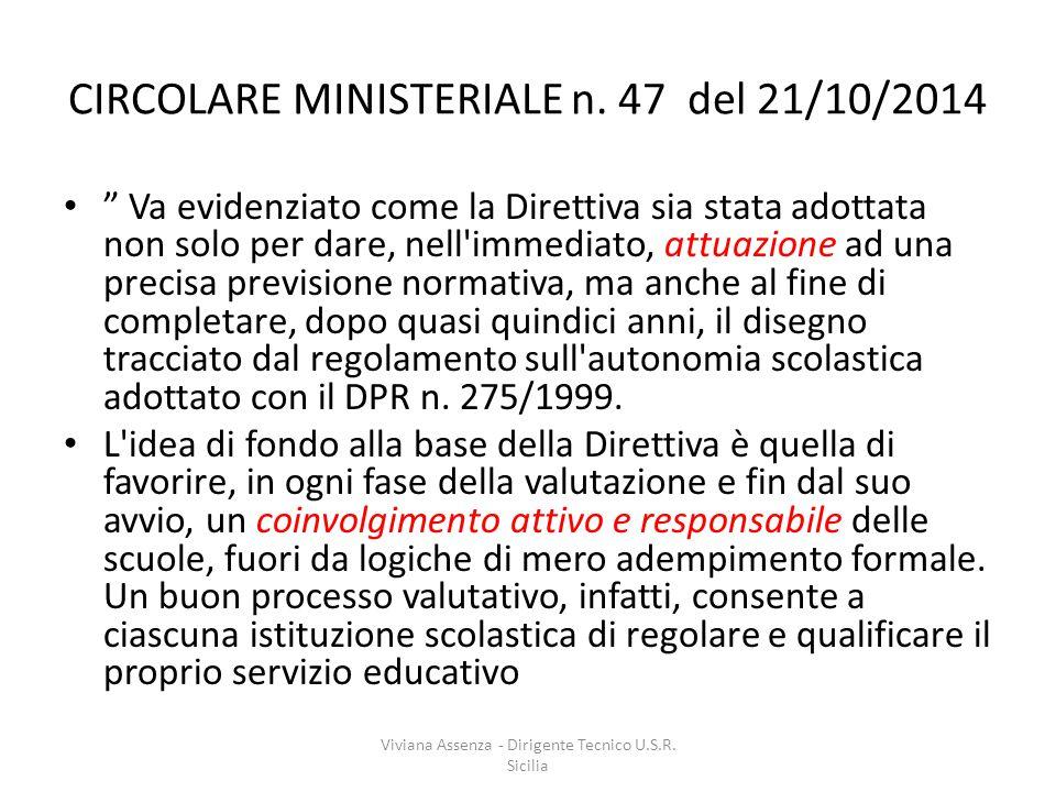 CIRCOLARE MINISTERIALE n. 47 del 21/10/2014