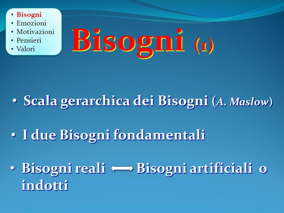 Bisogni (1) Scala gerarchica dei Bisogni (A. Maslow)