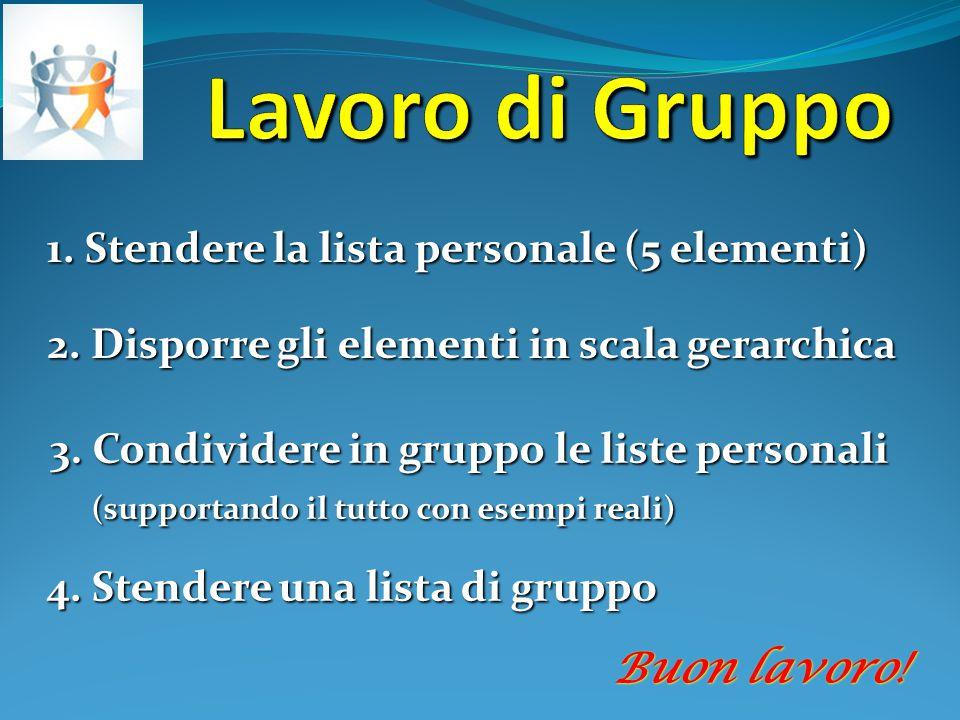 Lavoro di Gruppo 1. Stendere la lista personale (5 elementi)