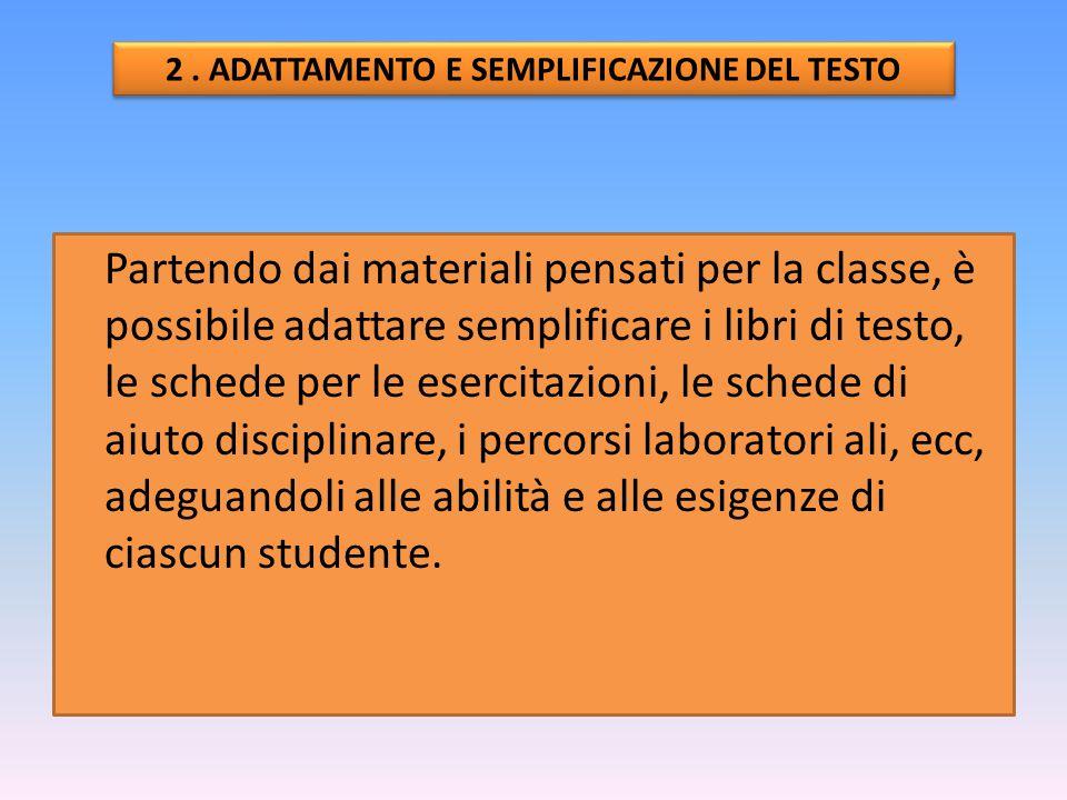 2 . ADATTAMENTO E SEMPLIFICAZIONE DEL TESTO