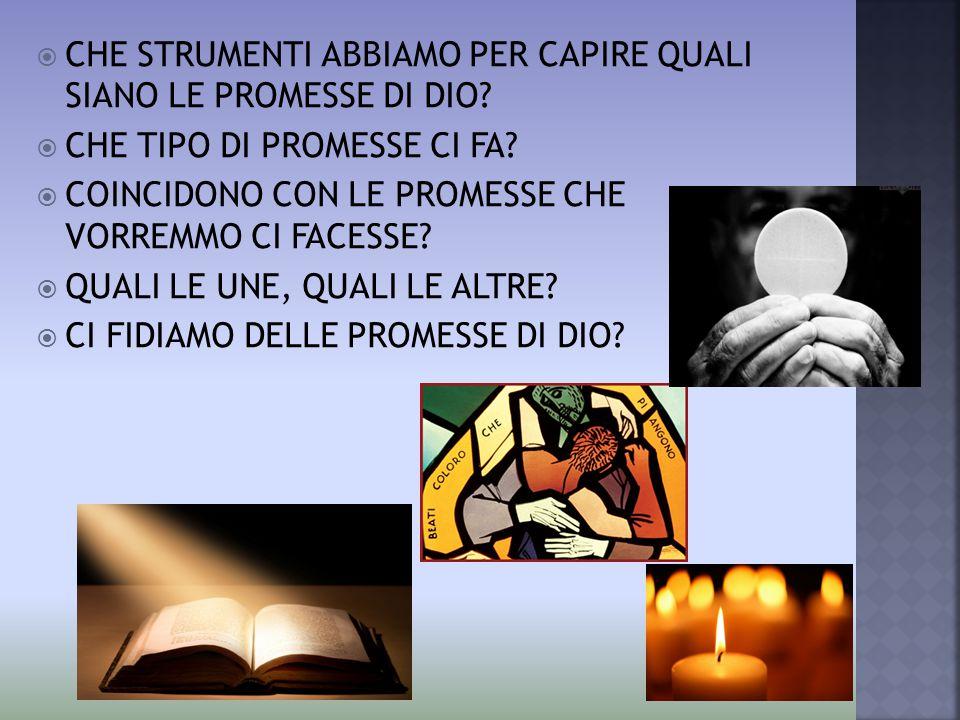 CHE STRUMENTI ABBIAMO PER CAPIRE QUALI SIANO LE PROMESSE DI DIO