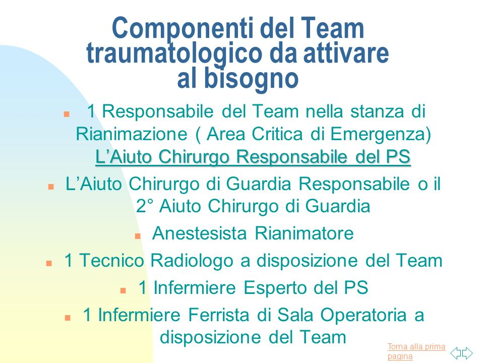 Componenti del Team traumatologico da attivare al bisogno
