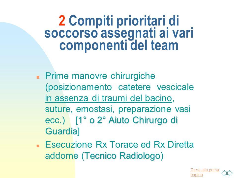 2 Compiti prioritari di soccorso assegnati ai vari componenti del team