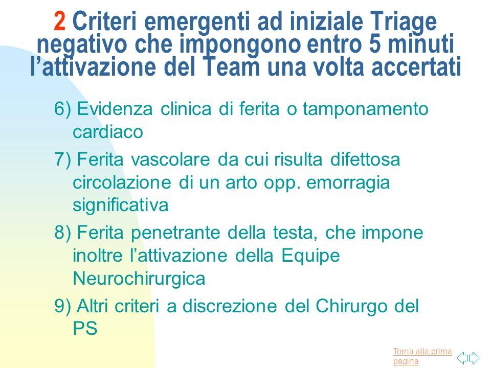 2 Criteri emergenti ad iniziale Triage negativo che impongono entro 5 minuti l'attivazione del Team una volta accertati
