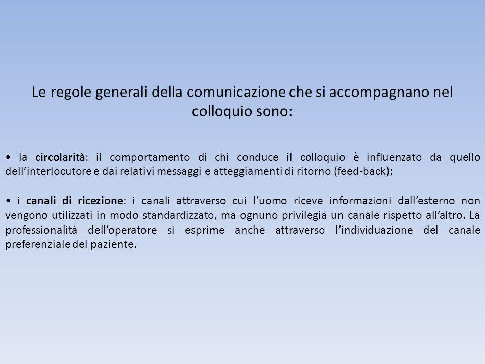 Le regole generali della comunicazione che si accompagnano nel colloquio sono: