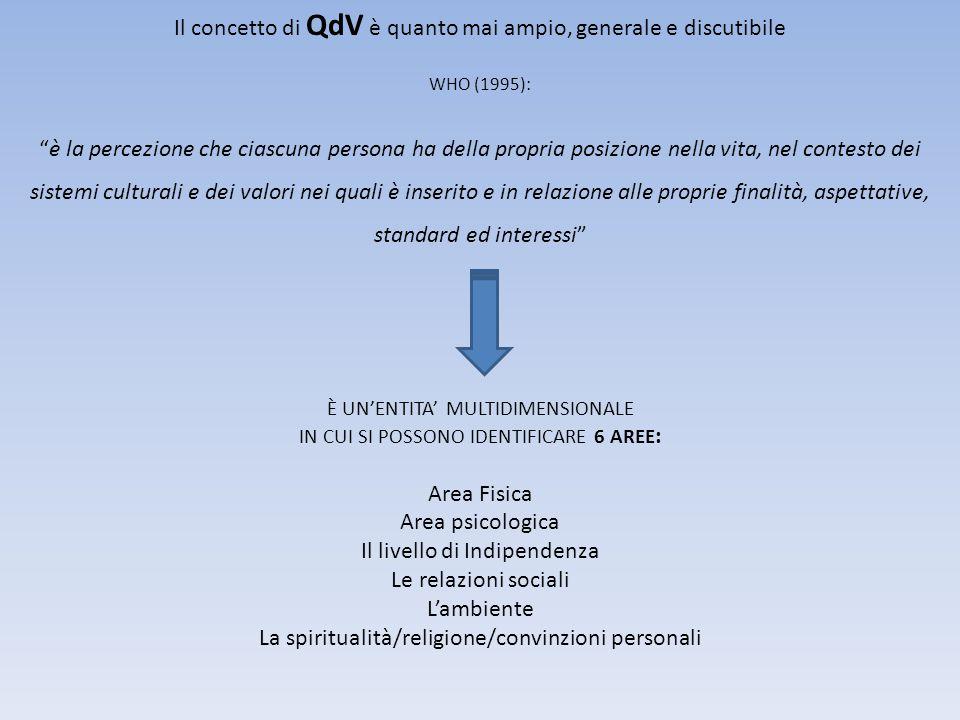 Il concetto di QdV è quanto mai ampio, generale e discutibile