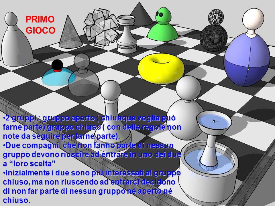 PRIMOGIOCO 2 gruppi : gruppo aperto ( chiunque voglia può farne parte) gruppo chiuso ( con delle regole non note da seguire per farne parte).