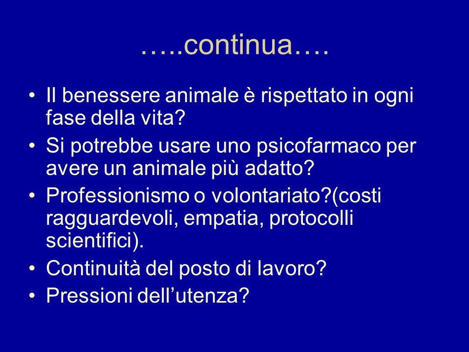 …..continua…. Il benessere animale è rispettato in ogni fase della vita Si potrebbe usare uno psicofarmaco per avere un animale più adatto