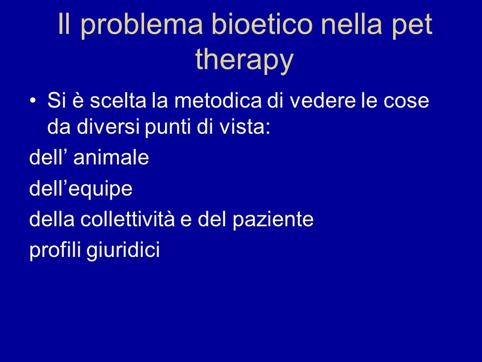 Il problema bioetico nella pet therapy