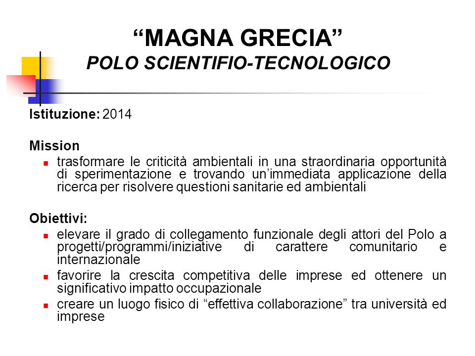 MAGNA GRECIA POLO SCIENTIFIO-TECNOLOGICO
