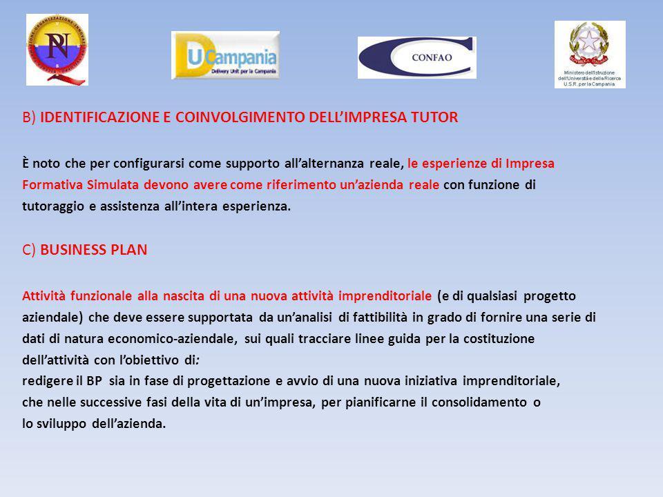 B) IDENTIFICAZIONE E COINVOLGIMENTO DELL'IMPRESA TUTOR