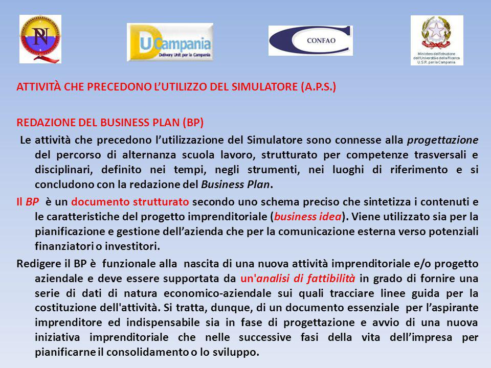 ATTIVITÀ CHE PRECEDONO L'UTILIZZO DEL SIMULATORE (A.P.S.)