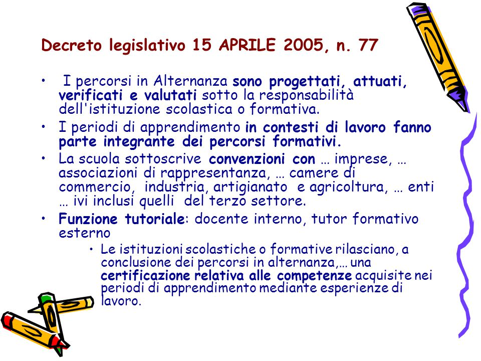Decreto legislativo 15 APRILE 2005, n. 77