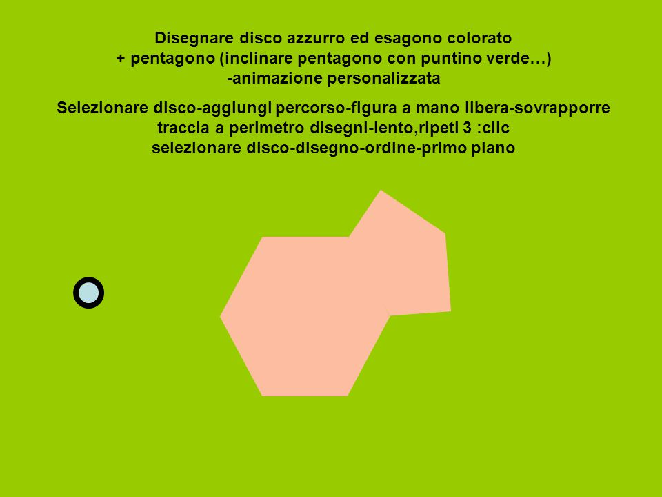 Disegnare disco azzurro ed esagono colorato + pentagono (inclinare pentagono con puntino verde…) -animazione personalizzata