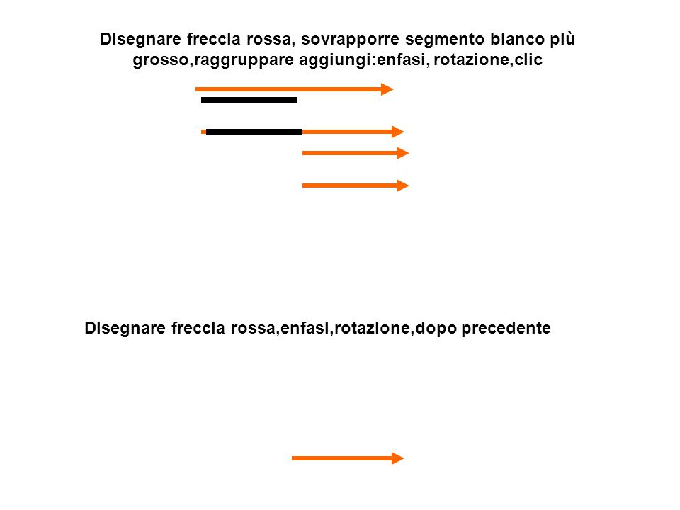 Disegnare freccia rossa, sovrapporre segmento bianco più grosso,raggruppare aggiungi:enfasi, rotazione,clic