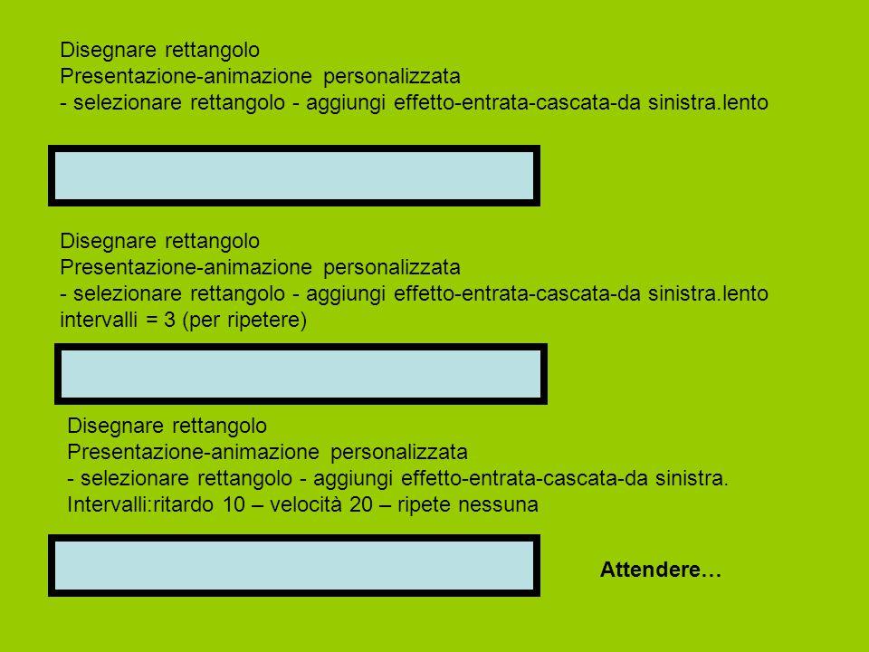 Disegnare rettangolo Presentazione-animazione personalizzata - selezionare rettangolo - aggiungi effetto-entrata-cascata-da sinistra.lento