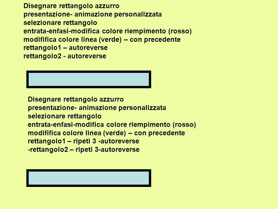 Disegnare rettangolo azzurro presentazione- animazione personalizzata selezionare rettangolo entrata-enfasi-modifica colore riempimento (rosso) modififica colore linea (verde) – con precedente rettangolo1 – autoreverse rettangolo2 - autoreverse