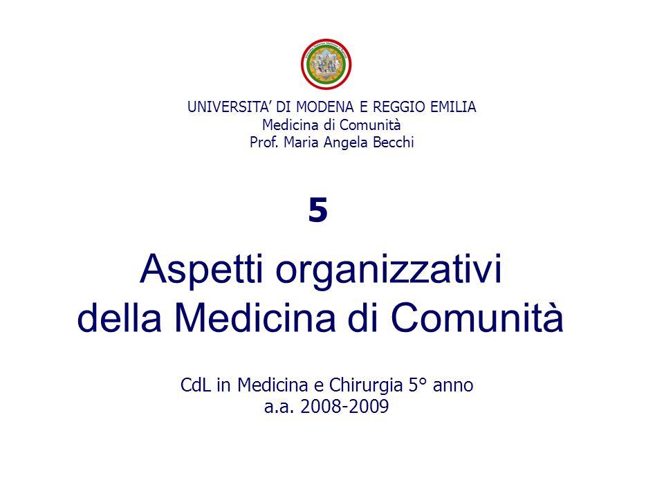 Aspetti organizzativi della Medicina di Comunità