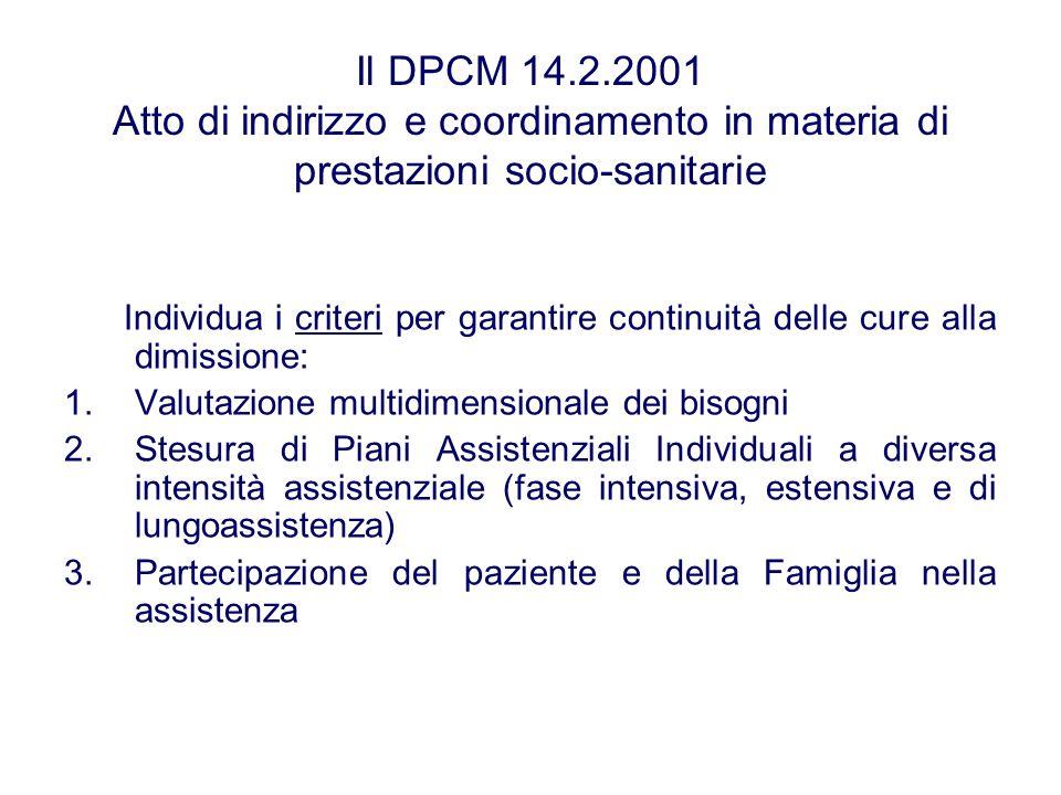 Il DPCM 14.2.2001 Atto di indirizzo e coordinamento in materia di prestazioni socio-sanitarie