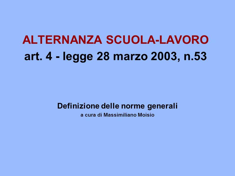 ALTERNANZA SCUOLA-LAVORO art. 4 - legge 28 marzo 2003, n.53