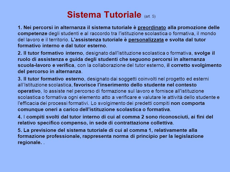 Sistema Tutoriale (art. 5)
