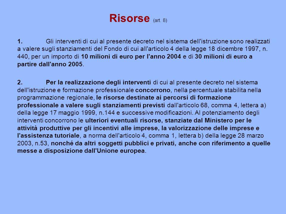 Risorse (art. 8)