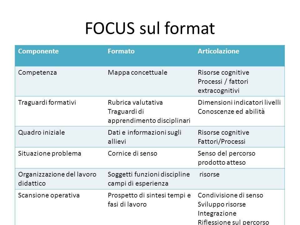 FOCUS sul format Componente Formato Articolazione Competenza