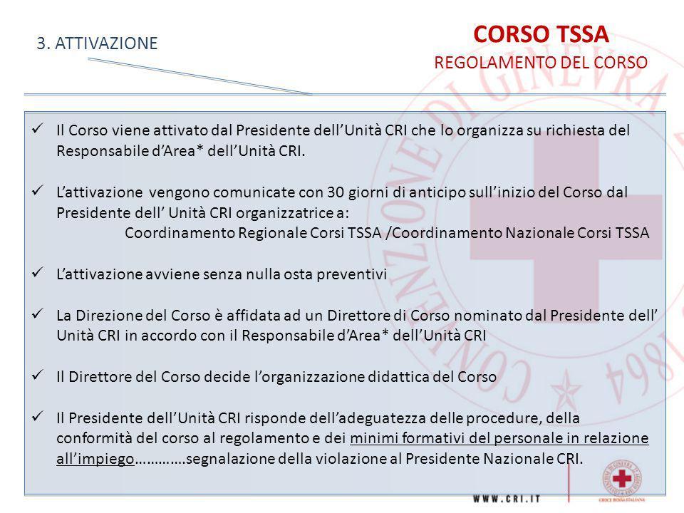 CORSO TSSA 3. ATTIVAZIONE REGOLAMENTO DEL CORSO
